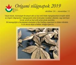 Origami világnapokhoz kapcsolódó felhívás - 2019
