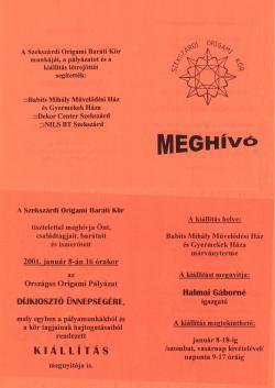 Országos origami pályázat és kiállítás - Szekszárd 2000-2001