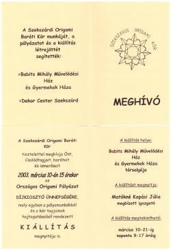 Origami kiállítás - Mesevilág - 2003