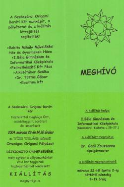 Origami pályázat és kiállítás - Vizi világ - 2004