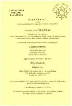 Origami pályázat - Mesevilág - 2003