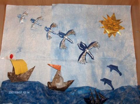Kép hajókkal, madarakkal és delfinekkel