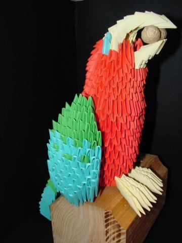 Papagáj 1000 papír technikával