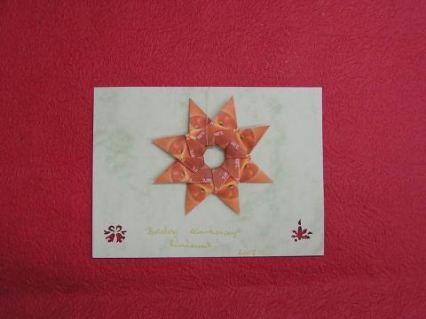 Képeslap teacsillag dekorációval