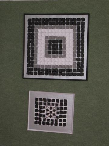 Részlet Újhegyi Györgyné Grőbel Eleonóra Vasarely nyomában origamival című kiállításából